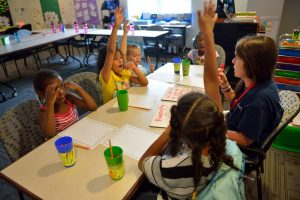Horizons students have the opportunity to work with teachers and literacy specialists in small groups.