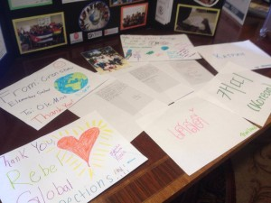 Thank letters from Crenshaw Elementary on display at Rebel Global Connections' presentation at the Service-Learning Symposium.